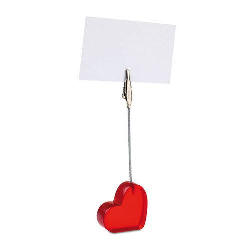 Heart shaped note holder, red, with your names, wedding date, up to 10 pieces